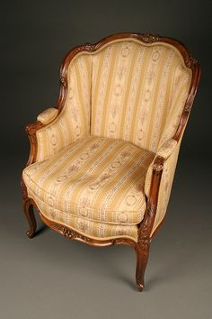 19th century Louis XV style French wingback chair. #antique #chairs