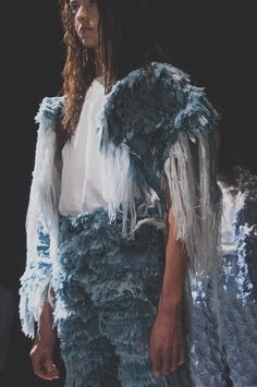 Super frayed denim at Faustine Steinmetz SS15 NYFW. More images here: http://www.dazeddigital.com/fashion/article/21665/1/faustine-steinmetz-ss15