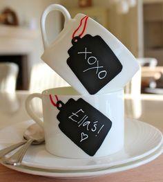 DIY: chalkboard tag teacups