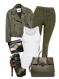 """""""Khaki"""" by isror on Polyvore featuring Acne Studios, Topshop, American Vintage, Versace and Christian Dior"""