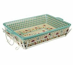 Temp-tations Gingham Gardens 13x9 Picket Fence Bakeware Set