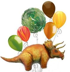 """Custom, Fun & Cool {XXL Massive Huge Size 12""""-50"""" Inch} 7 Pack of Helium & Air Inflatable Latex & Mylar Balloons w/ Triceratops Dinosaur Shape Design [in Green, Orange, Red & Brown] mySimple Products"""