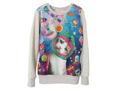 hihi, great - cat in space!  90s Cat face space sweatshirt colorful kawaii by ZulamimiLand