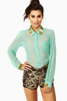 Gold Bar Blouse in Mint