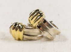 Vintage Rare Women's Tiffany & Co. 18K Yellow Gold and Silver Atlas Huggie Pierced Earrings - 8.2 grams FREE SHIPPING! $499.00