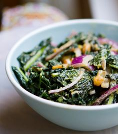 made a version of this tonight.  Fresh, unwilted kale salad with a warm dressing. Tasty!