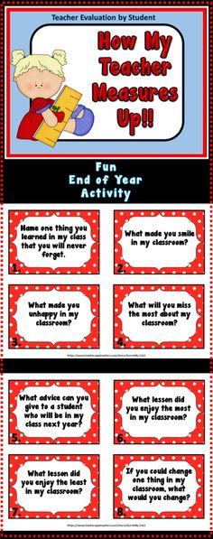 This fun end of year activity includes 20 questions in both a task card format and in a 4 page printable format with questions regarding your students' experiences in your classroom...I know as teachers you cringe at the thought of another review but how great is it that you can get feedback from those who know you the best--your students!! Your students will have fun completing the questionnaire and it will make them feel special knowing you value their opinions!