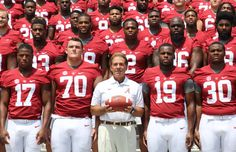 Nick Saban and the 2015 Alabama Crimson Tide at Media days ❤️