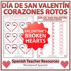 Exprsate 1 ch 2 vocab ppt descriptions likes and dislikes vocab valentines day broken hearts worksheet and flash cards in spanish fandeluxe