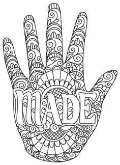 """""""Hand Made"""" Celebrate the handmade with this design inspired by traditional mehndi decoration. Downloads as a PDF. Use pattern transfer paper to trace design for hand-stitching. UTH7463 (Hand Embroidery) 00645109-022814-1249-4"""