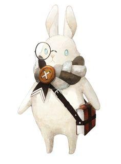The White Rabbit as a scout illustration Children's Book Illustration, Character Illustration, Character Concept, Concept Art, 3d Prints, Manga Comics, Creature Design, Cute Art, Illustrations Posters