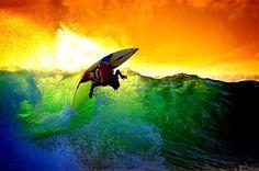 Surfing sunset❣