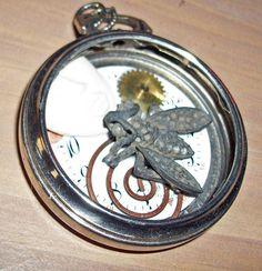 Bee Stung Lips Pendant/ Pocket Watch fable /Steampunk/ Vintage/ OOAK/Naas Art