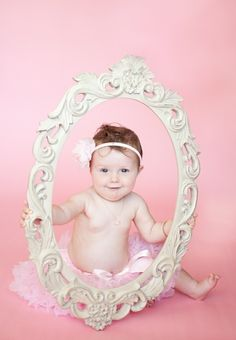Ours. 9 month old session with our 'new to us' garage sale find mirror frame!