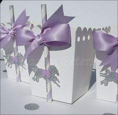 Carousel Horse Lavender & Silver Popcorn Boxes