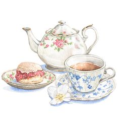 Enjoy high tea like they did in the Victorian era when scones and brewed loose leaves were enjoyed while painting with watercolor. Tea Cup Art, My Cup Of Tea, Tea Cups, Watercolor Clipart, Watercolor Food, Watercolour, Tee Illustration, Tee Kunst, Bild Tattoos