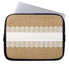 Burlap with Delicate Lace - Shabby Chic Style Laptop Sleeve
