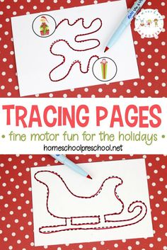 This collection of Christmas trace pages will keep little ones busy. These pages provide fun fine motor practice with a holiday twist! #finemotorpractice #tracingpages #christmasprintables via @homeschlprek
