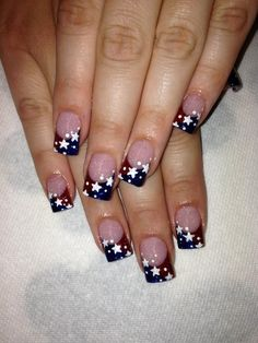 patriotic nails - Best of July Nail Art Designs - July 4th Nails Designs, Holiday Nail Designs, 4th Of July Nails, Holiday Nail Art, Nail Art Designs, French Nails, Hair And Nails, My Nails, Patriotic Nails