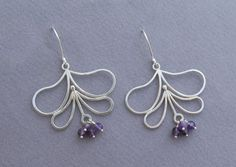 Dangle Silver Flower Earrings with Amethyst  by DaliaShamirJewelry