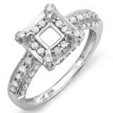 This ravishing Diamond Semi-Mount Ring. Fashioned in glistening 14K white gold this chic ring is bejeweled with spectacular round cut diamonds that makes a square top and further enhanced with rows of brilliance to complement your choice of center stone. It can fit 1.00 To 1.50 cts. (5.5 mm To 6.5 mm) Center Stone. Diamonds are finely prong set. Total diamond weight is 3/4ct. Dazzling rock is your go-to place for high quality diamond and gold jewelry.