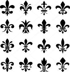 Herunterladen - Klassische Fleur de Lys Symbolsatz — Stockillustration #16984799