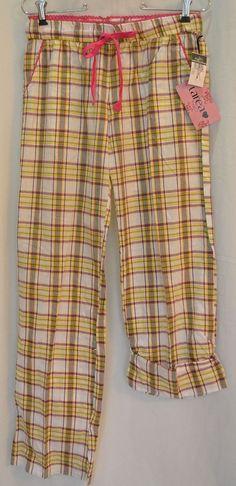 Rue 21 New Tags Size S Cotton Plaid Long Pants Sleep Lounge Pockets Elastic Wst #Rue21 #LoungePantsSleepShorts
