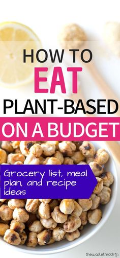 Plant-based on a budget: this vegan grocery list meal-plan and cheap vegan recipes are all geared towards helping you learn how to stick to a plant-based diet on a budget. Find recipe inspiration with cheap ingredients an average vegan meal plan and more. Plant Based Diet Meals, Plant Based Meal Planning, Plant Based Eating, Plant Based Recipes, Plant Based Diet Plan, Vegan Meal Plans, Diet Meal Plans, Cheap Vegan Meals, Cheap Recipes