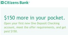Citizens Bank personal checking bonus. #money #cash