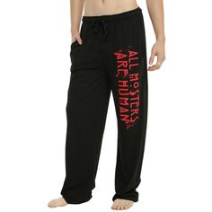 Hot Topic American Horror Story All Monsters Are Human Guys Pajama... ($15) ❤ liked on Polyvore featuring men's fashion, men's clothing, men's sleepwear and pj pants