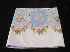 Vintage Medium Blue  Aqua Pink Rust Floral Rectangle Table Cloth Tablecloth.
