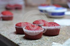 Photo about A combination of red on a bluri background. Image of combination, cupcakes, velvet - 63616735 Red Velvet Cupcakes, Mini Cupcakes, Desserts, Food, Tailgate Desserts, Deserts, Essen, Postres, Meals