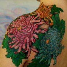 chrysanthemum shoulder  tattoo - 40 Beautiful Chrysanthemum Tattoo Ideas