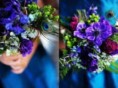 Beautiful Peacock inspired bouquets by Hello Darling  Photo by Two Birds Photography  www.twobirdsphoto.com