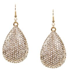 Gold Sparkle Tear Drop Earrings