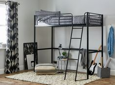 Buy Argos Home Riley Black High Sleeper Bed Frame at Argos. Thousands of products for same day delivery or fast store collection. Box Bedroom, Kids Bedroom, Bedroom Ideas, High Sleeper Bed, High Beds, Furniture Care, Simple Bed, Black Bedding, Metal Beds