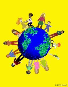 """Heute ist Weltkindertag!  """"Jeder Mensch ist anders, doch alle haben etwas gemeinsam."""" ~ Temu Diaab Auszug aus dem #Kinderbuch """"Bunt, gleich und anders ... wie Du und ich"""" Illustration: Elisabeth Diaab #Buchtipp #Diaab"""
