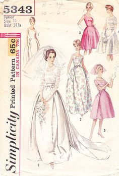 1963 Wedding Gown Vintage Pattern Mad Men Jackie by BuzzyVintage, $30.00