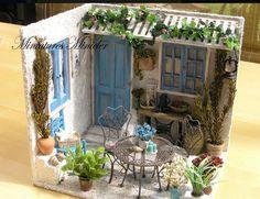 Miniature Rooms, Box Art, Beach House, Porch, Miniatures, Patio, Table Decorations, Dolls, Diy