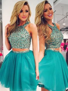 Bohoprom sparkly beaded a-line homecoming dresses, made of tulle and embellished with beadings, 2 pieces homecoming dress, Teal Homecoming Dresses, High Low Prom Dresses, Prom Dresses 2016, Formal Evening Dresses, 2 Piece Prom Dress, Beautiful Dresses, Ball Gowns, Shorts, Fashion 2018
