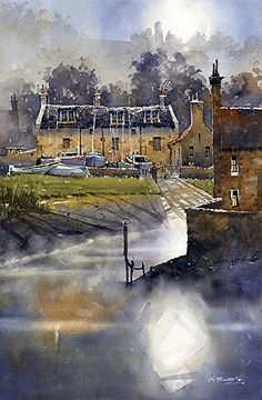 St. Andrews Boatyard by Iain Stewart Watercolor ~ 22.5 x 14