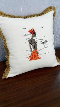 2 Pieces African Bohemian Style Embroidery Pillow Cover Case HomeDecor Accessories Ethnic Lady Tassel Craft Shams Decorative Cushions Orange #embroidery #orange #PillowsCover #16x16Inches #Craft #Tassel #African #boho #style #design Orange Style, Orange Color, Home Decor Accessories, Decorative Accessories, Practical Gifts, Decorative Cushions, Bohemian Style, Tassel, Pillow Covers