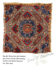 """picture from the book """"Embroidery of the Greek Islands & Epirus Region"""" Embroidered pillow face, Ionian Islands, Century Embroidery Fabric, Embroidery Patterns, Cross Stitch Patterns, Crochet Patterns, Greek Art, Orient, Vintage Textiles, Greek Islands, Textile Patterns"""