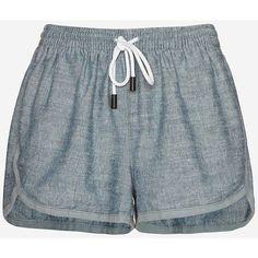 rag & bone/JEAN Grimsby Chambray Shorts ($168) ❤ liked on Polyvore featuring shorts, bottoms, short, denim, chambray shorts and pocket shorts