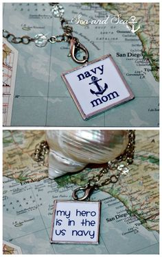 Reversible Proud US Navy Mom soldered glass pendant by sonandsea,
