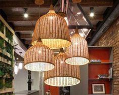 Handgemachte Rattan Lampe Wicker Lampe Boho Stil Lampenschirm | Etsy Bamboo Pendant Light, Bamboo Light, Bamboo Lamp, Rustic Pendant Lighting, Rustic Lamp Shades, Rustic Lamps, Wood Lamps, Ceiling Lights Uk, Ceiling Lamp