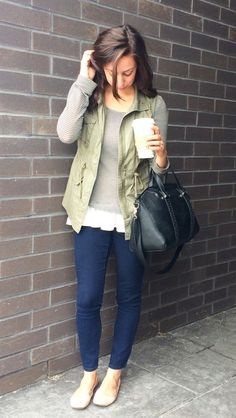 army vest and stripes // fall fashion