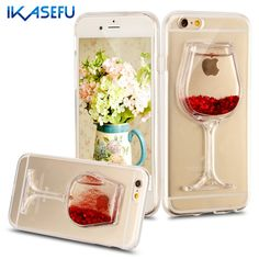 Bling Fundas for iPhone 6 4.7 Cases Covers Red Wine Glass Glitter Soft TPU Silicone Case for iPhone 6 6S 6 S Plus 5.5 Coque Capa