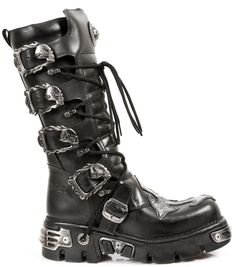 1b86f399552 New Rock Boots USAMetallic Collection · Black Leather Gothic Cross Boots.  Quality Black Leather Reactor Boots. 4 Buckles to adjust