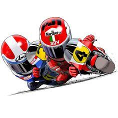 Motorcycle Art, Motorcycle Outfit, Bike Art, Ducati, Yamaha, Custom Sport Bikes, Illustration Sketches, Illustrations, Grand Prix